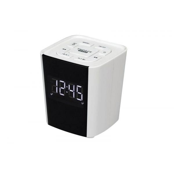 RADIO RELOJ BLANCO DIGITAL FM 2 ALARMAS
