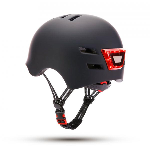 CASCO C/LED FRONTAL TRASERO NEGRO YOU IN